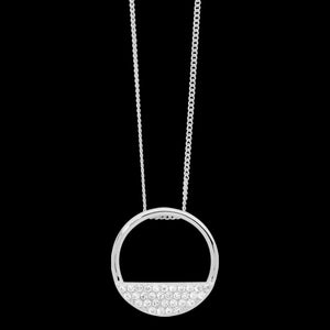 ELLANI STERLING SILVER 28MM OPEN CIRCLE 4-ROW CZ NECKLACE
