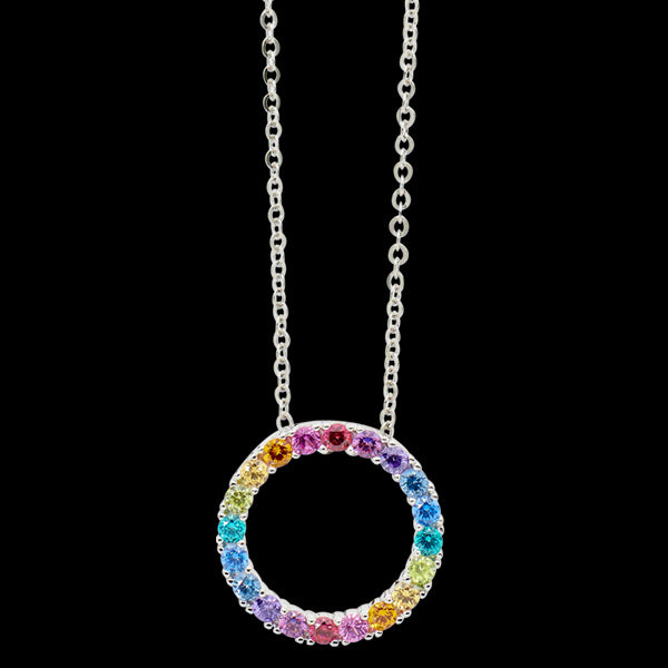ELLANI STERLING SILVER 16MM OPEN CIRCLE RAINBOW CZ NECKLACE