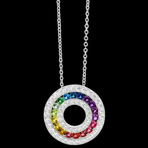 ELLANI STERLING SILVER 20MM CIRCLE RAINBOW CZ CHANEL SET NECKLACE