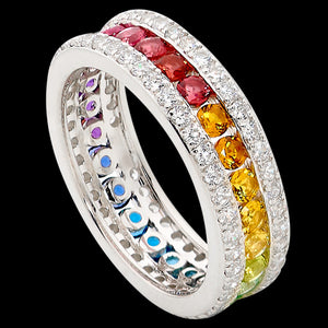 ELLANI STERLING SILVER RAINBOW CZ CHANNEL SET RING