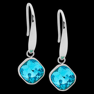 ELLANI STAINLESS STEEL AQUA GLASS SQUARE DROP EARRINGS