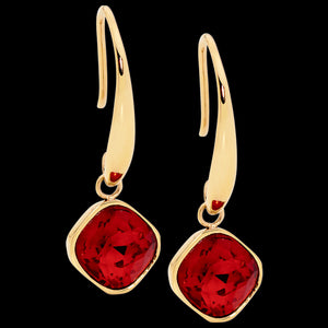 ELLANI STAINLESS STEEL GOLD RUBY RED GLASS SQUARE DROP EARRINGS