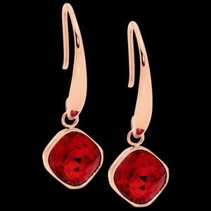 ELLANI STAINLESS STEEL ROSE GOLD RUBY RED GLASS SQUARE DROP EARRINGS