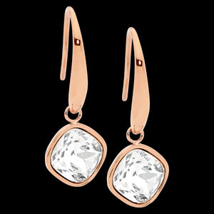 ELLANI STAINLESS STEEL ROSE GOLD CLEAR GLASS SQUARE DROP EARRINGS