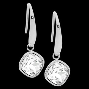 ELLANI STAINLESS STEEL CLEAR GLASS SQUARE DROP EARRINGS