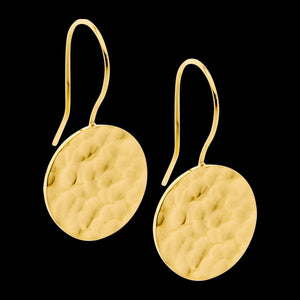 ELLANI STAINLESS STEEL GOLD HAMMERED CIRCLE DROP EARRINGS