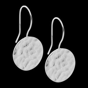 ELLANI STAINLESS STEEL HAMMERED CIRCLE DROP EARRINGS