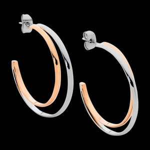 ELLANI STAINLESS STEEL ROSE GOLD 35MM DOUBLE HOOP TWO TONE EARRINGS