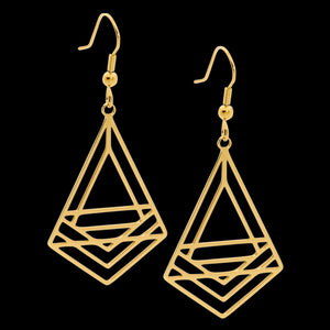 ELLANI STAINLESS STEEL GOLD ABSTRACT TRIANGLE DROP EARRINGS