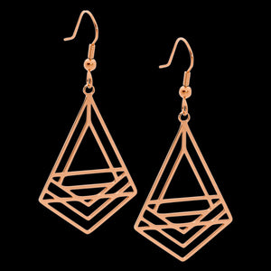 ELLANI STAINLESS STEEL ROSE GOLD ABSTRACT TRIANGLE DROP EARRINGS