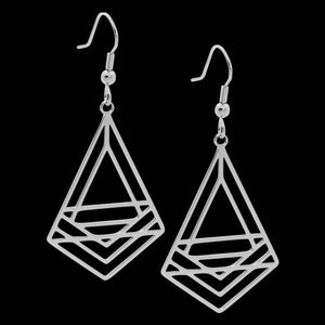 ELLANI STAINLESS STEEL ABSTRACT TRIANGLE DROP EARRINGS