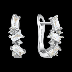 ANIA HAIE GLOW GETTER SILVER CLUSTER HUGGIE EARRINGS