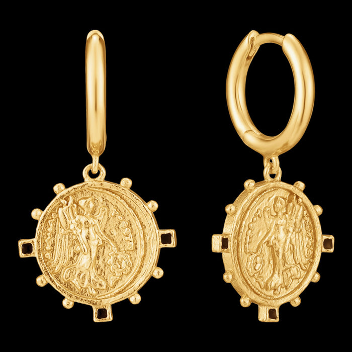 ANIA HAIE GOLD DIGGER VICTORY GODDESS DROP HOOP EARRINGS