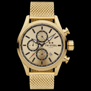 TW STEEL VOLANTE ALL GOLD DIAL CHRONO MILANESE WATCH VS86