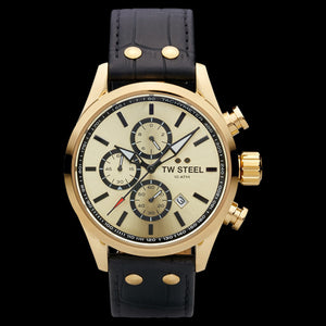 TW STEEL VOLANTE GOLD DIAL CHRONO BLACK LEATHER WATCH VS86L
