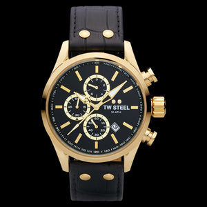 TW STEEL VOLANTE GOLD BLACK DIAL CHRONO BLACK LEATHER WATCH VS87L