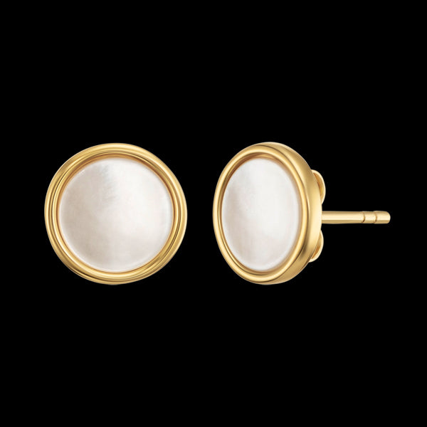 ENGELSRUFER GOLD MOTHER OF PEARL DISC STUD EARRINGS