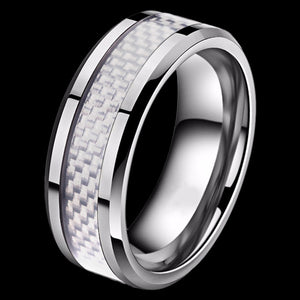 STAINLESS STEEL MEN'S 8MM LIGHT GREY CARBON FIBRE INLAY RING