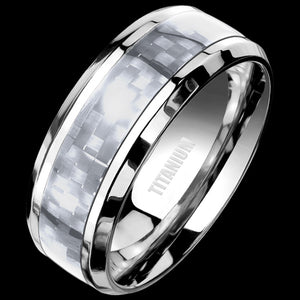 TITANIUM MEN'S 8MM GREY CARBON FIBRE INLAY RING