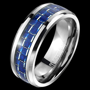 TITANIUM MEN'S 8MM BLUE CARBON FIBRE INLAY RING