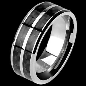 TITANIUM MEN'S 8MM DUAL CHANNEL BLACK CARBON FIBRE INLAY RING