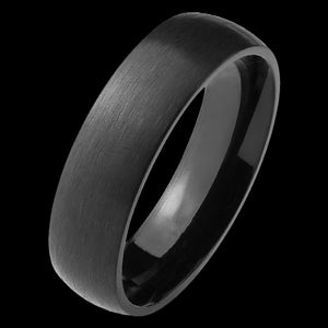 TITANIUM MEN'S 6MM BLACK IP MATT FINISH RING