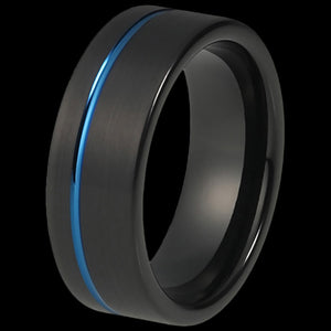MAXIMAN ORBIT BLUE 8MM BLACK MEN'S TUNGSTEN CARBIDE RING