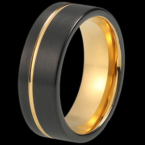 MAXIMAN ORBIT GOLD 8MM BLACK MEN'S TUNGSTEN CARBIDE RING