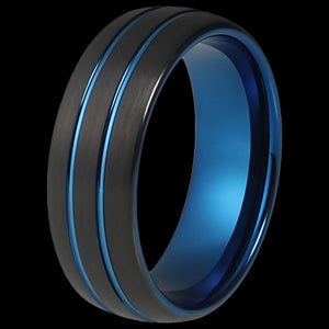 MAXIMAN BINARY BLUE 8MM BLACK MEN'S TUNGSTEN CARBIDE RING
