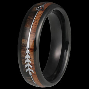 MAXIMAN WOODSMAN ARROW 6MM BLACK MEN'S TUNGSTEN CARBIDE RING