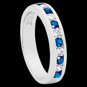 ELLANI STERLING SILVER ETERNITY ROUND SAPPHIRE CZ CHANNEL RING