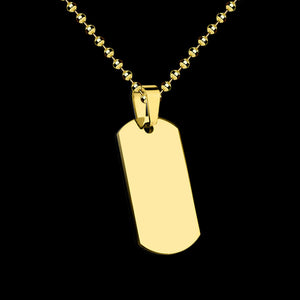STAINLESS STEEL GOLD IP SMALL DOG TAG NECKLACE