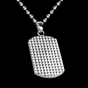 STAINLESS STEEL PYRAMID CHECKER PLATE DOG TAG NECKLACE