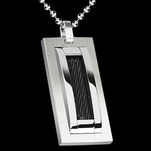 STAINLESS STEEL BLACK CABLE DOG TAG NECKLACE