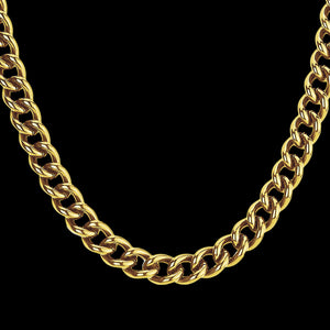 STAINLESS STEEL GOLD IP MEN'S CURB CHAIN 58CM NECKLACE