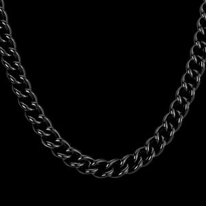 STAINLESS STEEL BLACK IP MEN'S CURB CHAIN 58CM NECKLACE