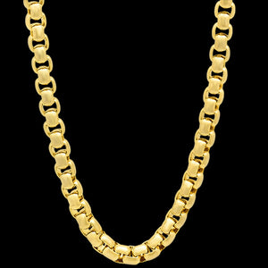 STAINLESS STEEL GOLD IP MEN'S ROUND BOX CHAIN 49CM NECKLACE