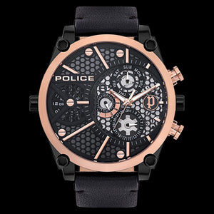 POLICE MEN'S VIGOR ROSE DIAL BLACK LEATHER WATCH