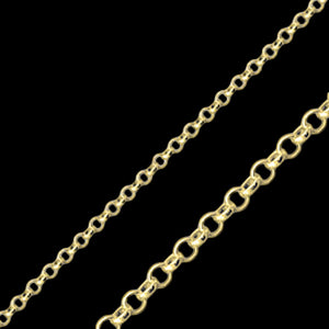 LUXXURY 2MM STERLING SILVER GOLD PLATE ROLO CHAIN NECKLACE
