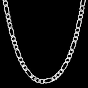 STERLING SILVER 6MM MEN'S 55CM FIGARO CHAIN NECKLACE