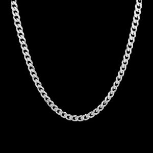STERLING SILVER 4.5MM MEN'S 50CM CURB LINK CHAIN NECKLACE