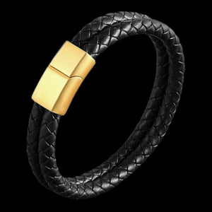 MAXIMAN CHAMPION MEN'S BLACK LEATHER BRACELET