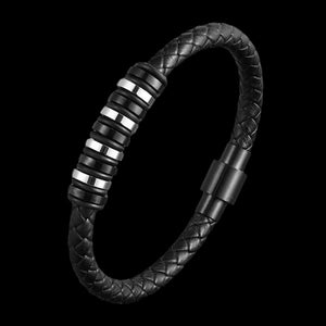 MAXIMAN ABACUS MEN'S BLACK LEATHER BRACELET