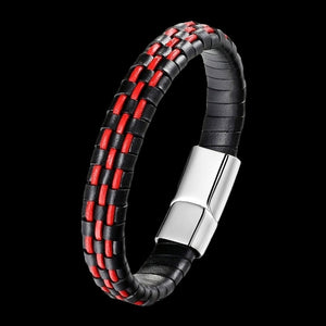 MAXIMAN TEMPEST MEN'S BLACK-RED LEATHER BRACELET