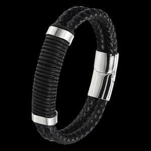 MAXIMAN TORNADO MEN'S BLACK LEATHER BRACELET