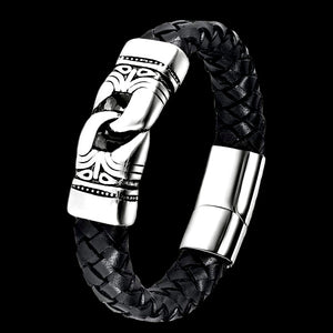 MAXIMAN AZTEC MEN'S BLACK LEATHER BRACELET