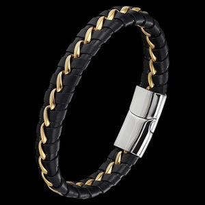 MAXIMAN VALIANT MEN'S BLACK LEATHER BRACELET