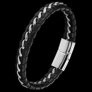 MAXIMAN FEARLESS MEN'S BLACK LEATHER BRACELET
