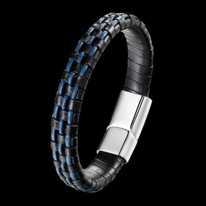 MAXIMAN TYPHOON MEN'S BLACK-BLUE LEATHER BRACELET