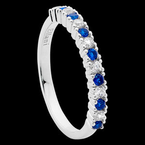 ELLANI STERLING SILVER SAPPHIRE BLUE CZ SINGLE ROW RING
